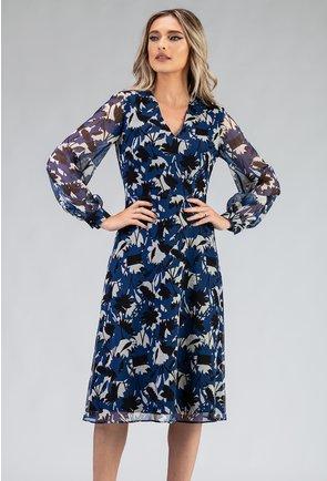 Rochie matasoasa bleumarin cu imprimeu floral