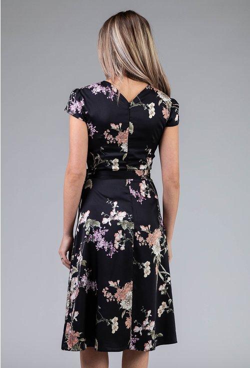 Rochie matasoasa neagra cu imprimeu floral
