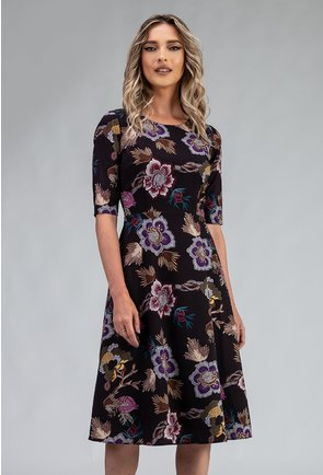 Rochie matasoasa neagra cu imprimeu floral mov