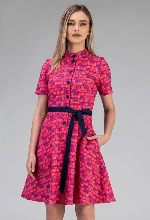 Rochie multicolora din bumbac cu buzunare