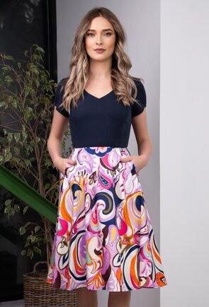 Rochie navy cu imprimeu colorat