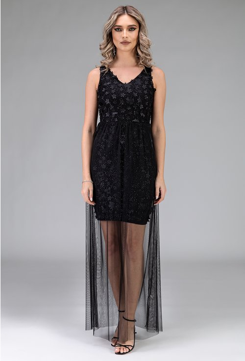 Rochie neagra cu aplicatii florale si voal