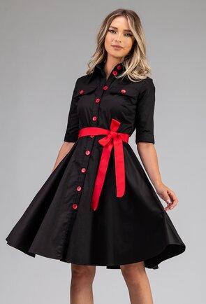 Rochie neagra cu buzunare si detalii rosii