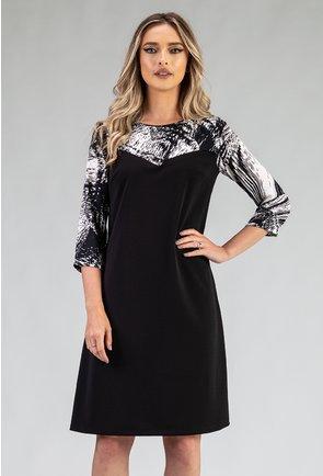 Rochie neagra cu imprimeu abstract alb cu negru