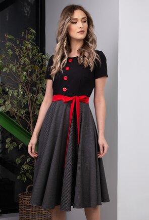 Rochie neagra cu imprimeu cu buline si detalii rosii