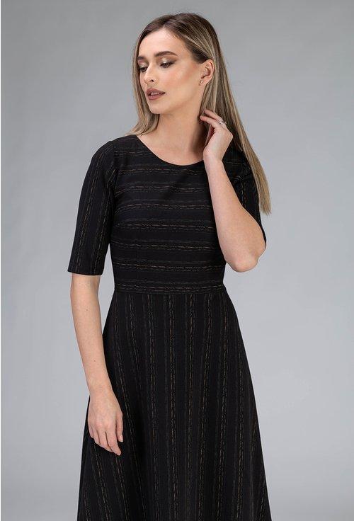 Rochie neagra cu imprimeu cu linii punctate
