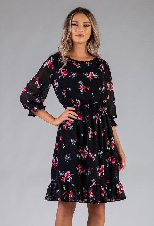 Rochie neagra cu imprimeu floral