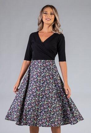 Rochie neagra cu imprimeu floral multicolor