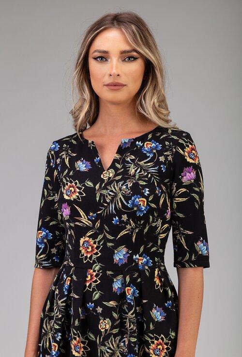 Rochie neagra cu imprimeu floral si buzunare