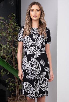 Rochie neagra cu imprimeu vegetal alb