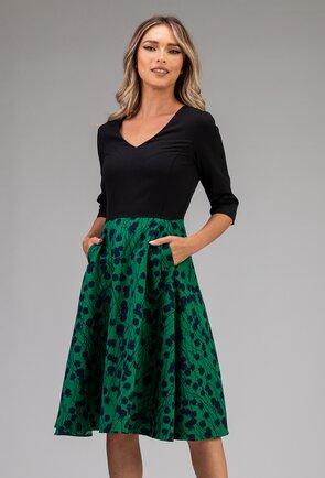 Rochie neagra cu imprimeu verde in partea de jos