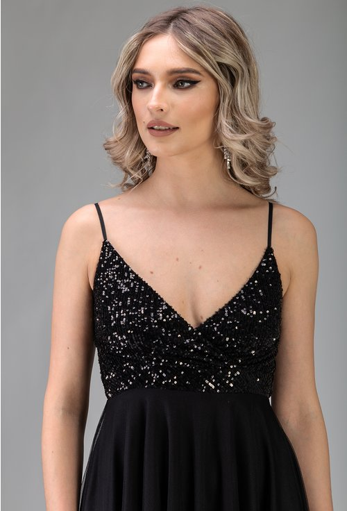 Rochie neagra cu insertii sclipitoare