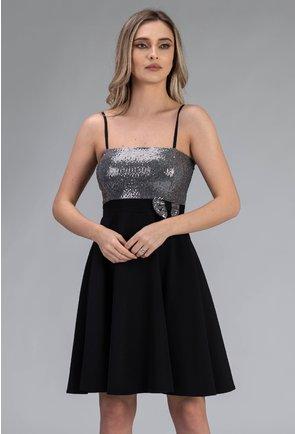 Rochie neagra cu insertii sclipitoare argintii si bretele