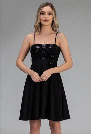 Rochie neagra cu insertii sclipitoare negre si bretele