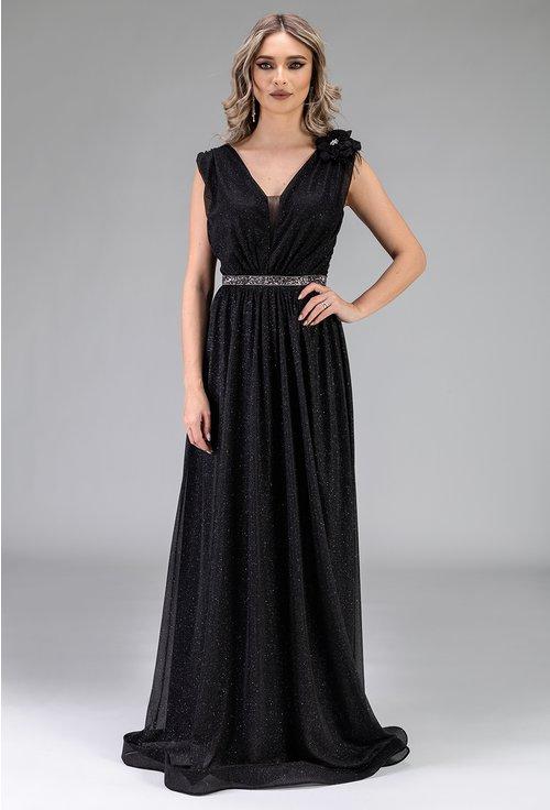 Rochie neagra cu insertii sclipitoare si trandafir decorativ