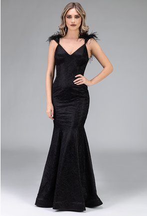 Rochie neagra cu pene tip sirena