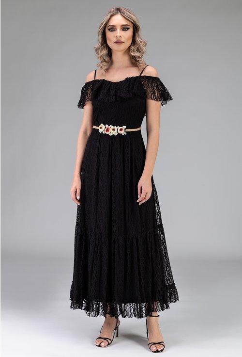 Rochie neagra din dantela cu volan si curea cu flori