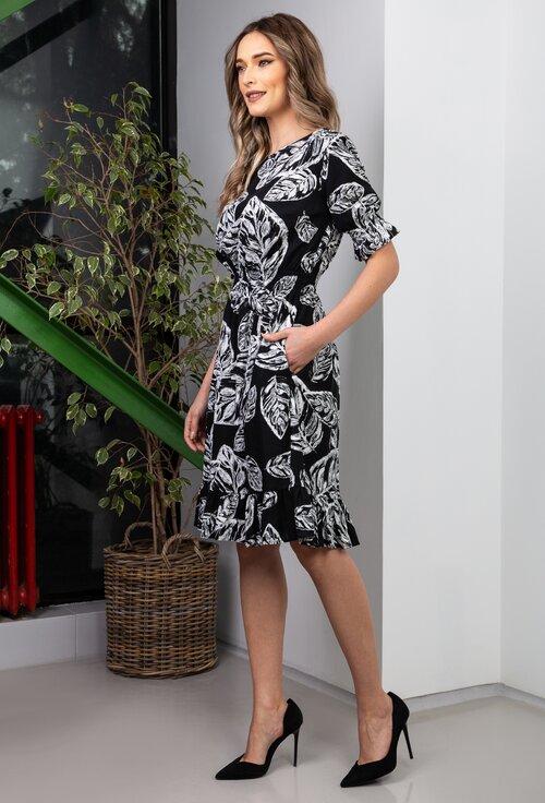 Rochie neagra din in cu imprimeu vegetal