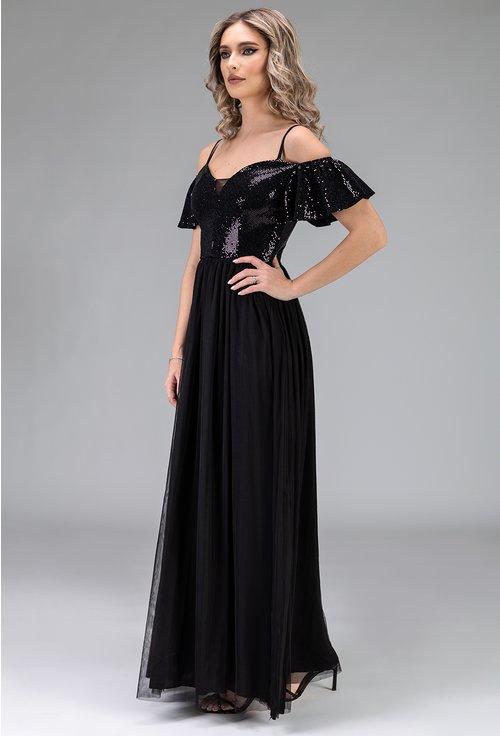 Rochie neagra din voal cu detalii sclipitoare negre