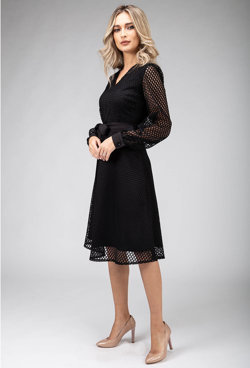Rochie neagra eleganta cu detalii tip plasa