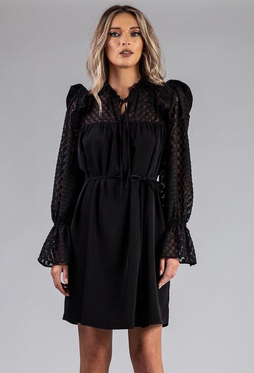 Rochie neagra matasoasa cu detalii cu buline