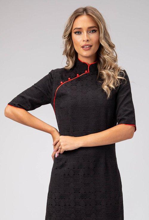 Rochie neagra tip chimono cu imprimeu cu striatii Caty