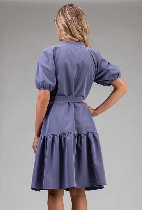 Rochie nuanta albastru deschis cu maneca bufanta