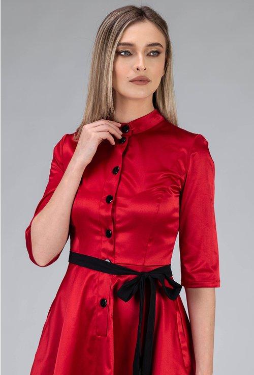 Rochie nuanta rosu inchis cu buzunare si nasturi