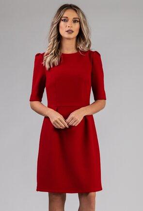 Rochie nuanta rosu inchis cu pense