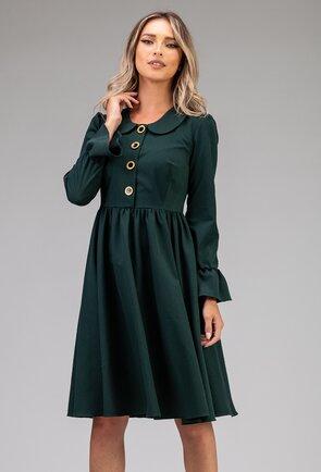 Rochie nuanta verde inchis cu nasturi decorativi