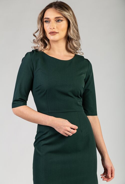 Rochie office conica nuanta verde inchis