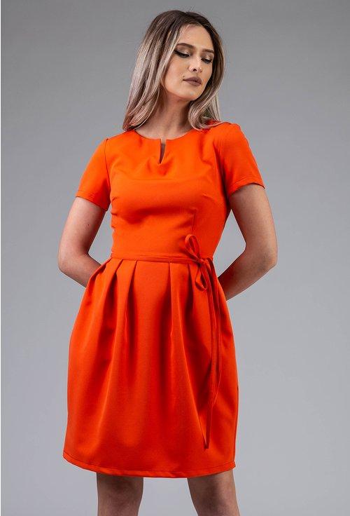 Rochie office portocalie cu maneca scurta