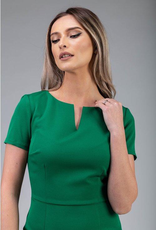 Rochie office verde cu maneca scurta