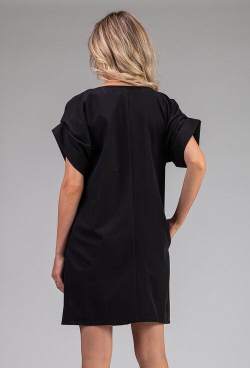 Rochie oversize neagra cu model cu buline