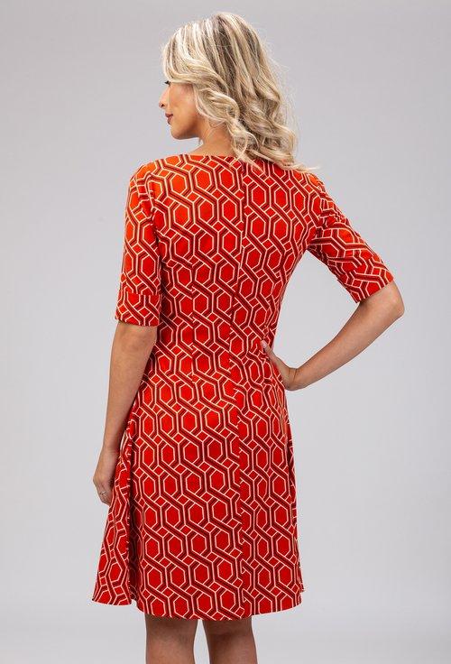 Rochie portocalie cu imprimeu geometric alb cu negru
