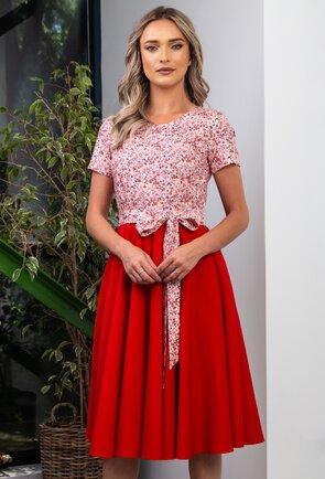 Rochie rosie cu buzunare si imprimeu floral