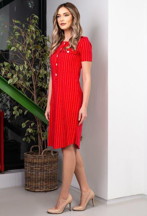 Rochie rosie cu dungi verticale