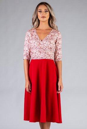 Rochie rosie cu imprimeu floral in partea de sus