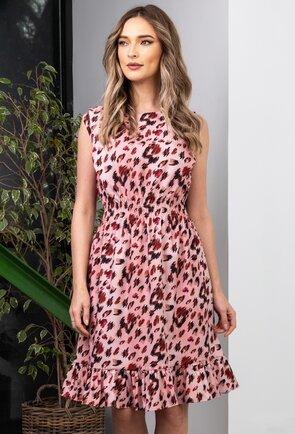 Rochie roz cu animal print