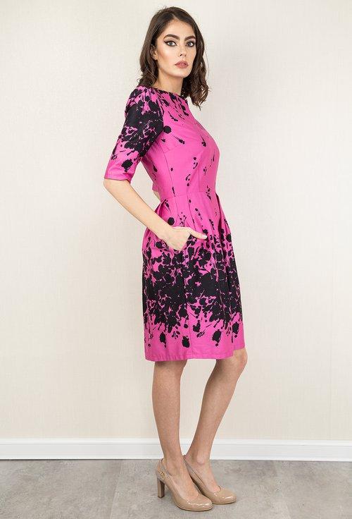 Rochie roz cu imprimeu abstract si buzunare Linda