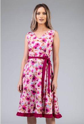 Rochie roz din bumbac organic cu imprimeu floral