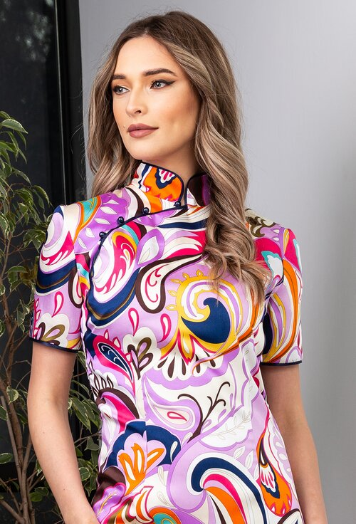 Rochie tip chimono cu imprimeu multicolor