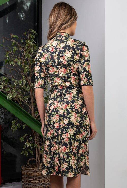 Rochie tip chimono din bumbac cu imprimeu floral