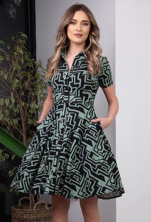 Rochie verde confectionata din in cu buzunare