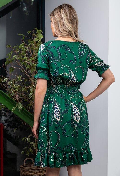 Rochie verde cu buzunare si volan