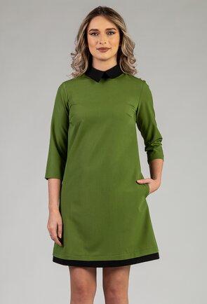 Rochie verde cu guleri si buzunare
