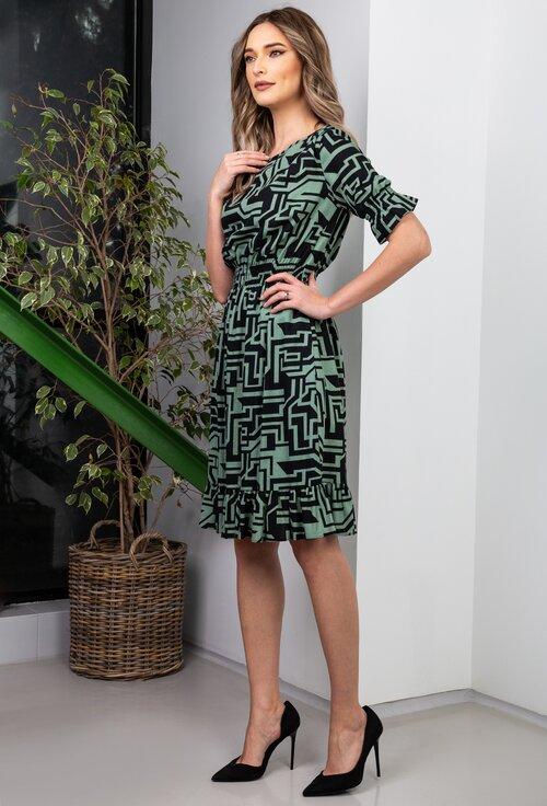 Rochie verde cu imprimeu geometric
