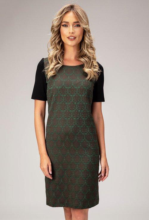 Rochie verde cu imprimeu in relief Lien