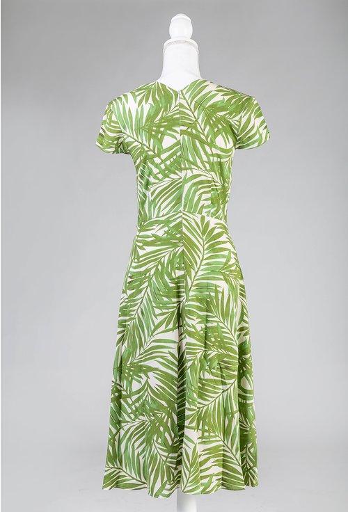 Rochie verde cu imprimeu vegetal