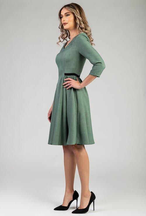 Rochie verde cu pliuri laterale